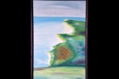 "CLIFF AT BEACHY HEAD: 26"" x 18"" £150 (Oil)"