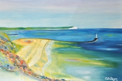 "NEWHAVEN HARBOUR: 24"" x 17"" £195 (Oil)"