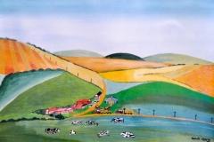 """PICKERS HILL FARM: 30"""" x 20"""" SOLD (Watercolour)"""