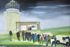 """THE MOVING OF BELLE TOUTE LIGHTHOUSE: 20"""" x 16"""" £500 (Oil)"""