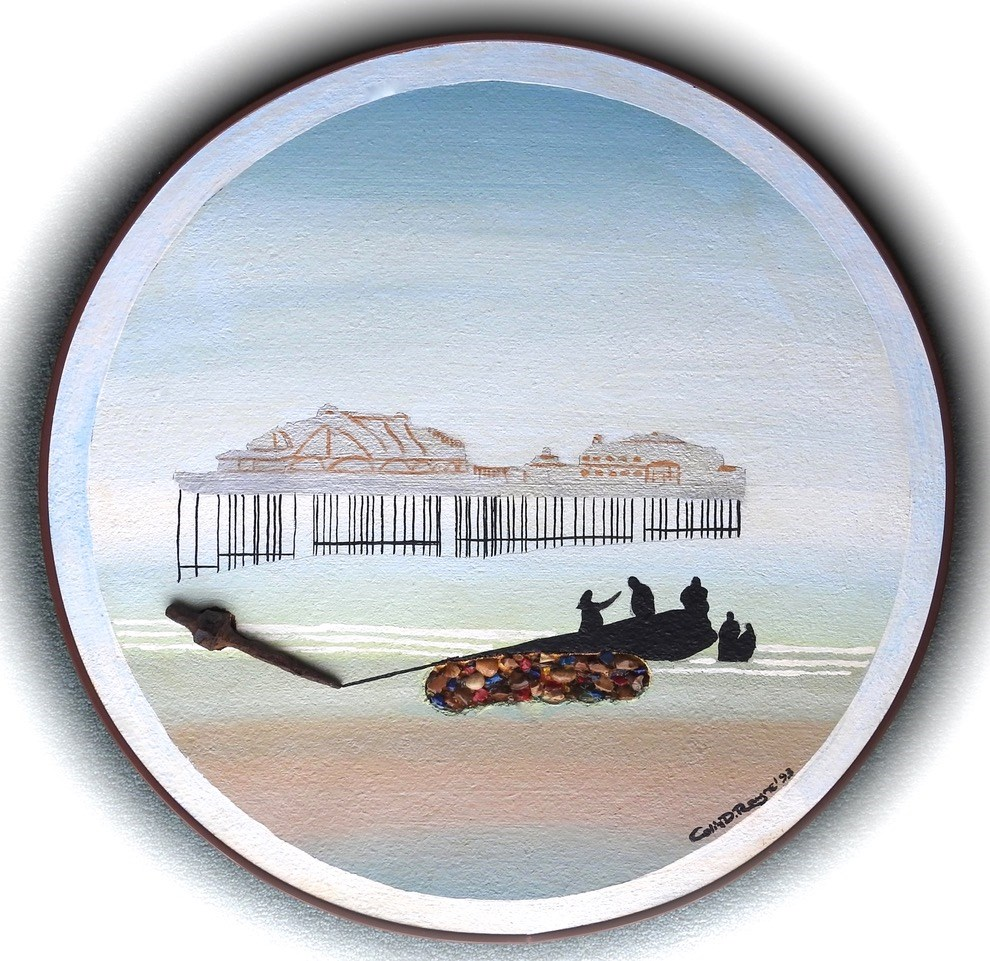 "The West Pier Brighton 1993 Oil on board - 20"" Diameter"