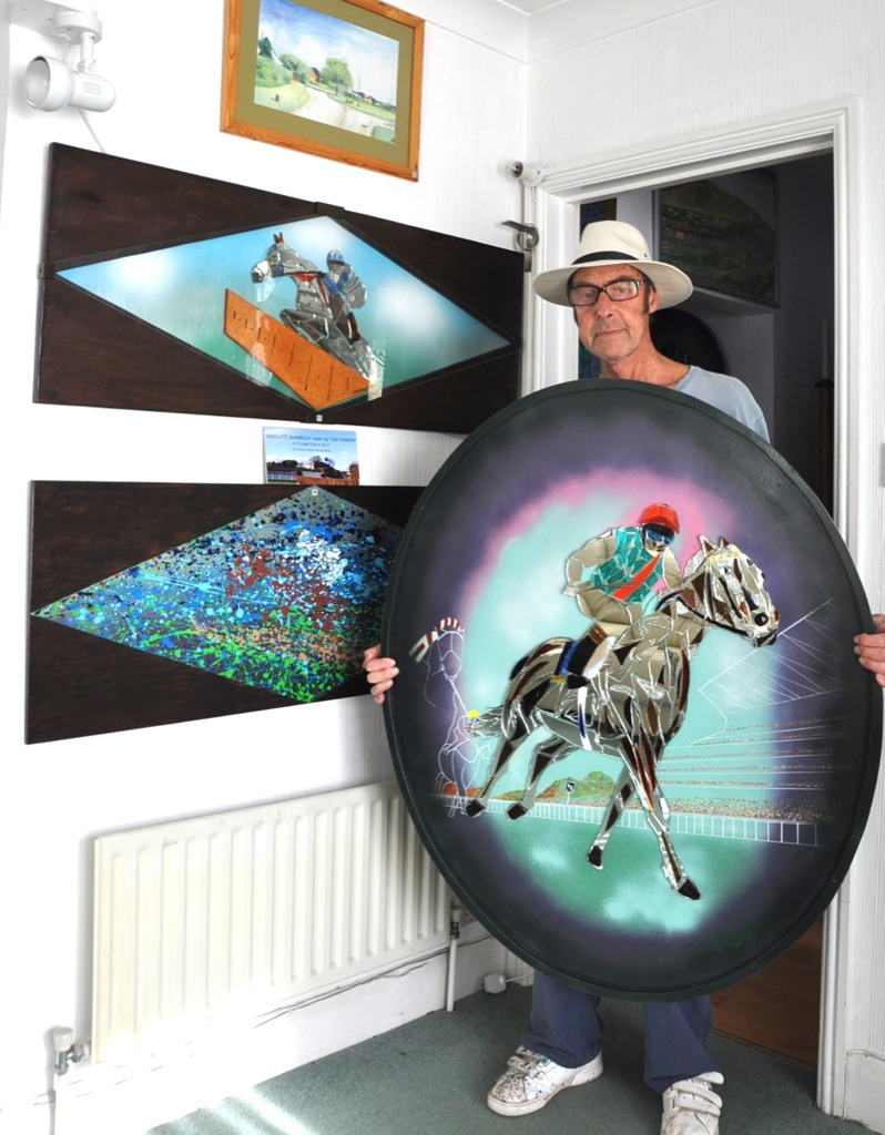 Artist Colin Rayne with Frankel (46 high) at Epsom