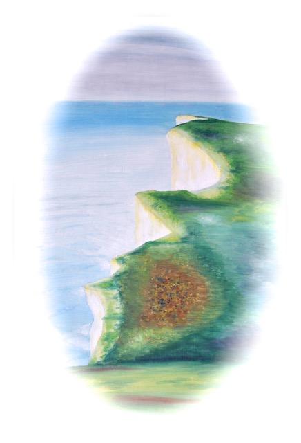 Cliff at Beachy Head with fog