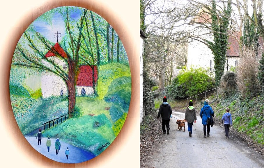 Telscombe Village paintings and real photograph