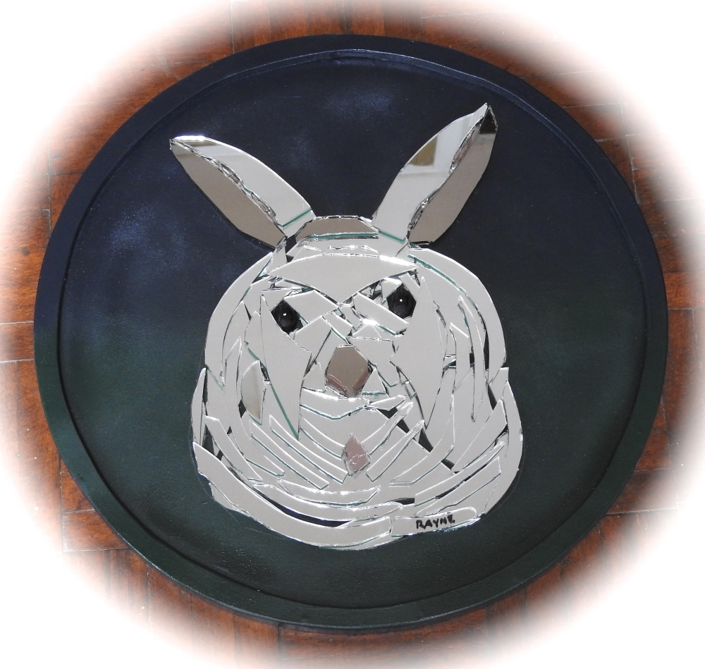 "Rabbit: 15"" Circle Glass Sculpture"